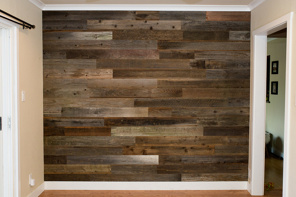 accent wall rewoodd reclaimed redwood