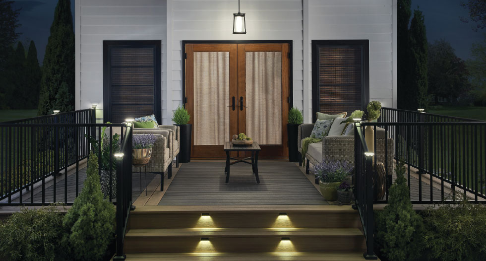 tropical black walnut decking at night