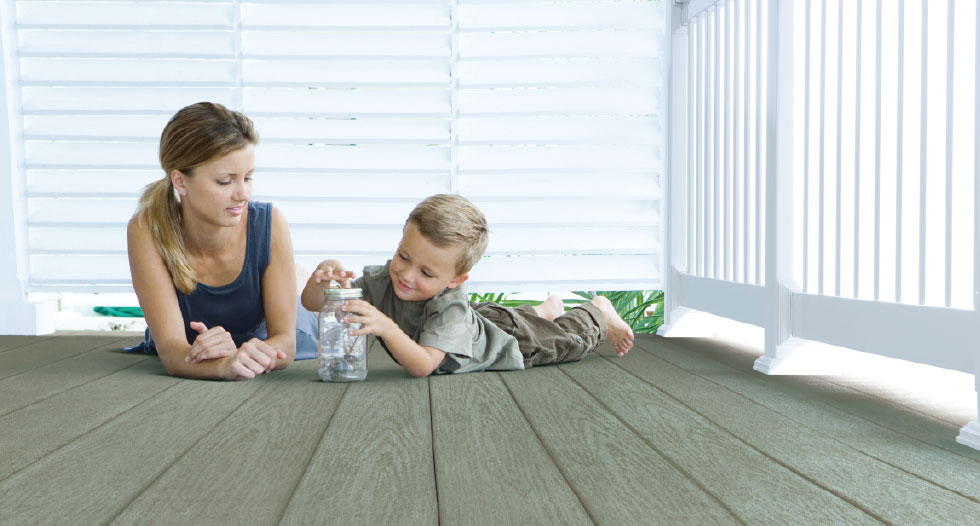 harbor gray decking with two children playing on top of it