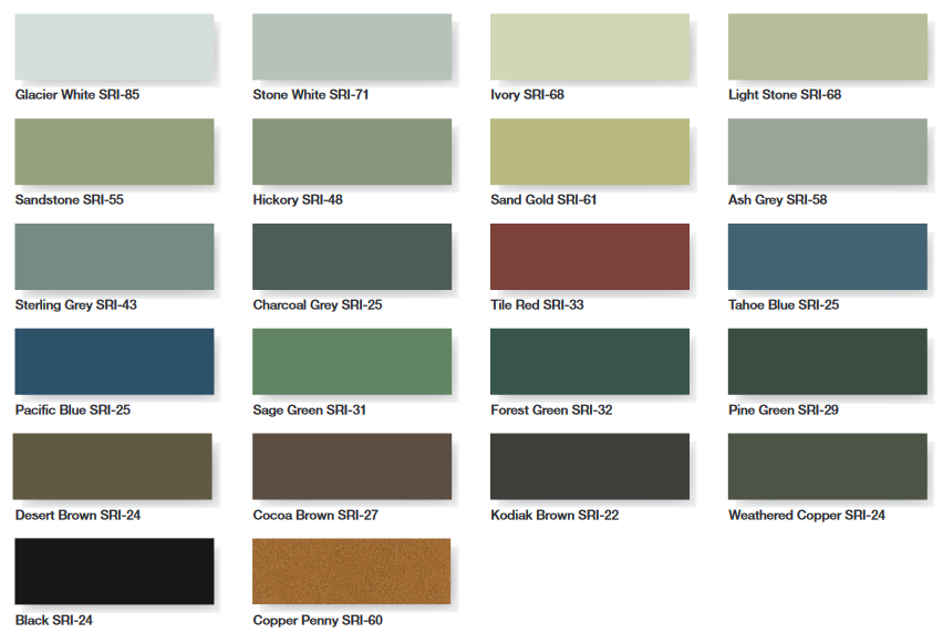 standard armortech roofing colors